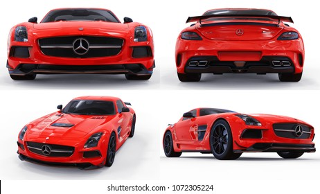 Set Mercedes-Benz SLS red. Three-dimensional raster illustration. Isolated car on white background. 3d rendering.