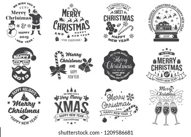 Set of Merry Christmas and 2019 Happy New Year stamp, sticker Set quotes with snowflakes, snowman, santa claus, candy, sweet candy, cookies.  Vintage typography design for xmas, new year emblem