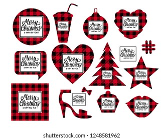 set merry christmas and happy new year shaped cards checkered texture is black with red