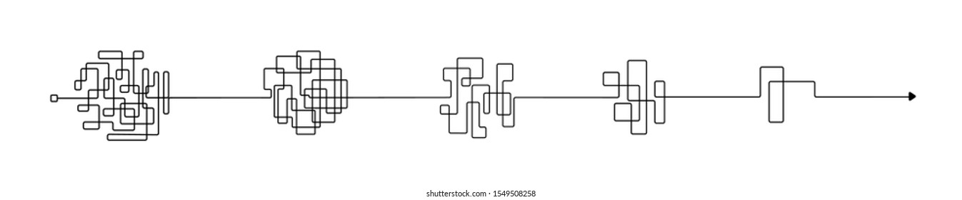 Set of messy clew symbols connected between them line of symbols with scribbled element, consept of transition from complicated to simple, isolated on white background.