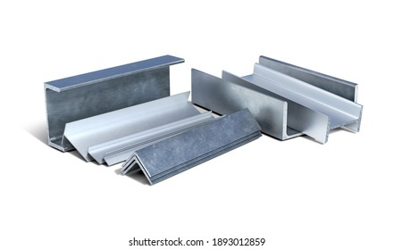 Set of metal and aluminium L-shapes, T-shapes, I-shapes and channels on a white background, 3d illustration