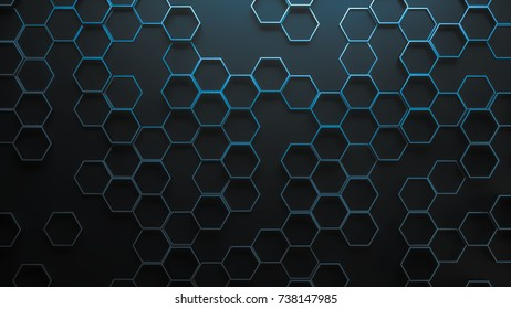 Set of metal hexagons on dark plane. Creative honeycomb geometric structure. Tech pattern of cell elements. Graphic digital concept. Abstract background. 3d rendering