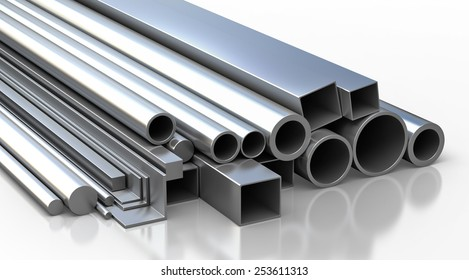 Set of metallic construction materials. Round pipes, square tubes, corners, rods on white background. Industrial 3d objects