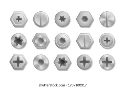 A set of metallic shiny screws and bolts to use in your designs. Collection of different heads of bolts, screws, nails, rivets. View from above. Decorative elements for your design.