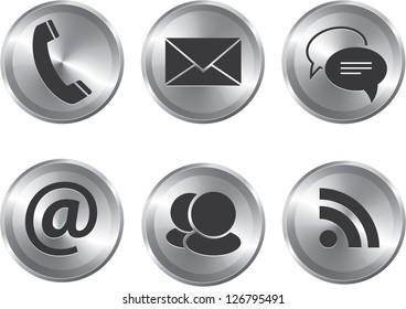 Set of metallic stylish modern communication web elements