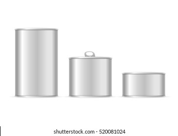 Set of Metallic Tin Cans. Different Size for Your Business. illustration