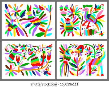 set of mexican tribal embroidary otomi style pattern with bird, animal and flower, raster version illustration collection