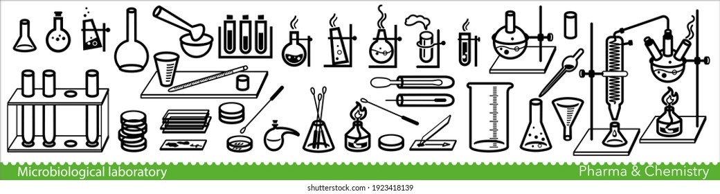 Set of microbiological lab icons. Miscellaneous laboratory devices and equipment