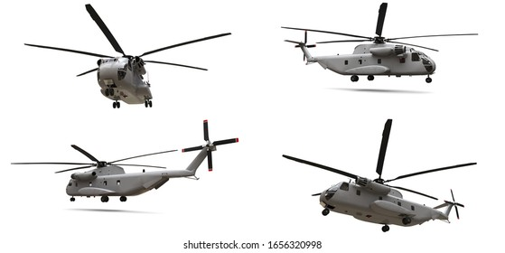 Set military transport or rescue helicopter on white background. 3d illustration.