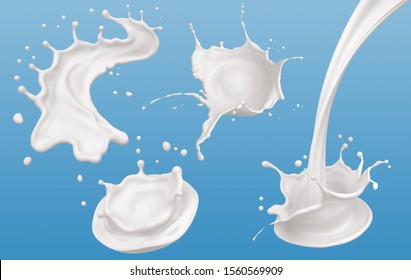 Set of Milk splash and pouring, yogurt or cream include Clipping path, 3d illustration.