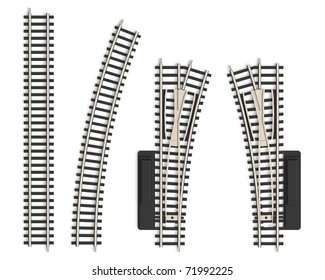 Set of miniature railroad track elements