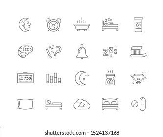 Set of Minimal Sleep Time Raster Line Icons. Perfect Pixel. Thin Stroke.