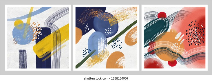Set of Minimalist hand paint abstract art background with watercolor spot. Brush painting is a textural decoration with an artistic acrylic design of a poster, banner, or interior painting.