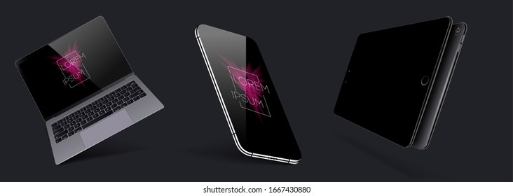 Set Mock-up of realistic devices. Smartphone, laptop, tablet and smartphone with blank screen for design.   collection gadgets. 3D, isometric, axonometric view of the device.