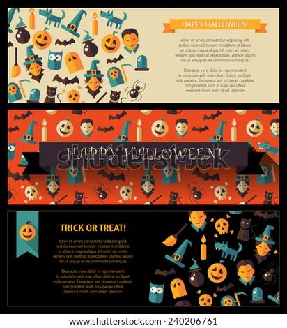 set modern flat design halloween card stock illustration 240206761