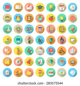 Set of modern flat round icons of school subjects, activities, education and science symbols in colorful circles with long shadows. Concepts for web site, mobile or computer apps, infographics