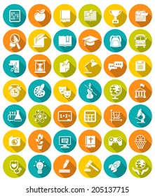 Set of modern flat white silhouette icons of school subjects, activities, educational and science symbols in colorful circles with long shadows