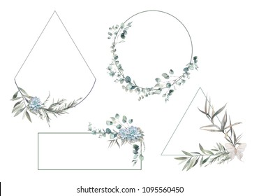 Set of modern greenery frames. Hand drawn floral labels with succulent, fern leaves, eucalyptus, rosemary. Greeting or wedding template collection isolated on white background.