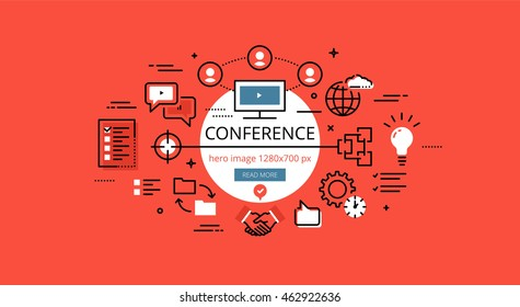 Set of modern illustration concepts of conferencing. Line flat design hero banners for websites and apps with call to action button, ready to use