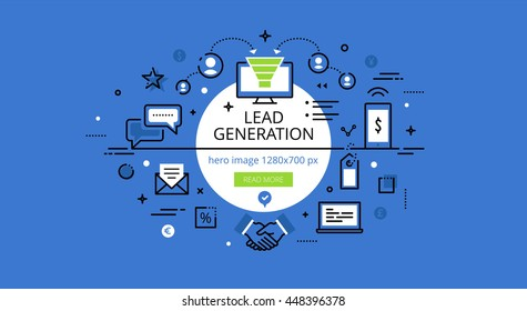 Set of modern illustration concepts of creating leads. Line flat design hero banners for websites and apps with call to action button, ready to use