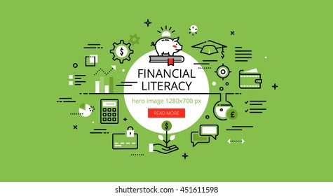 Set of modern illustration concepts of financial literacy. Line flat design hero banners for websites and apps with call to action button, ready to use