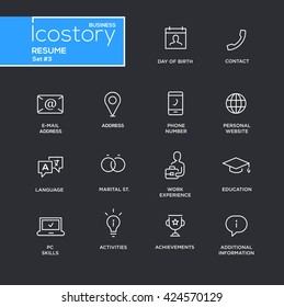 Set of modern plain simple thin line design icons and pictograms for your resume - black background. DOB, contact, phone, address, website, work experience, education, activities, information, info