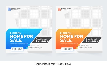 Set modern real estate square editable banner template. Minimalist design.Suitable for social media post and web internet ads. illustration with photo college. fashion sale social media post design