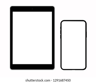 set of modern tablet and mobile phone  isolated - vector