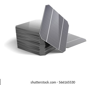 Set of Modules for the solar panel isolated on white background. 3D illustration.