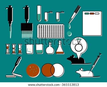 set molecular biology laboratory tools stock illustration 365513813