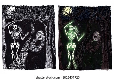 Set of monochrome and color illustrations for Halloween. The skeleton of a man with a bird on his shoulder walks along the path from the dug grave at night on the full moon.