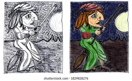 Set of monochrome and color illustrations for Halloween. Red-haired witch in a green dress on a broomstick in the full moon