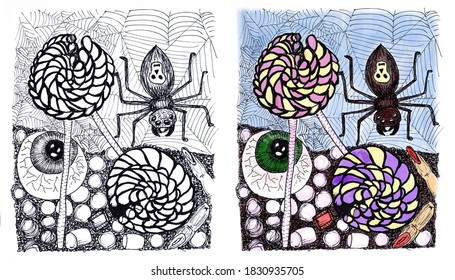 Set of monochrome and color illustrations for Halloween. Traditional sweets and a spider on a cobweb background