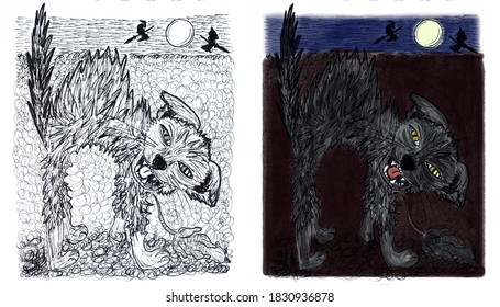 Set of monochrome and color illustrations for Halloween. Black cat with mice at full moon.