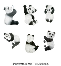 Set of monochrome hand-drawn funny pandas watercolor illustration isolated on a white  background.