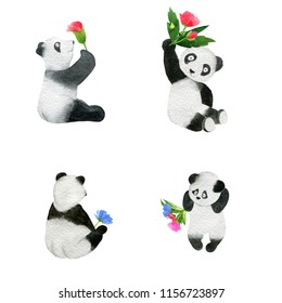 Set of monochrome hand-drawn funny pandas, flowers watercolor illustration isolated on a white  background. Useful for child book, wrap, textile, postcard, ad, diary, journal, blog, children design,