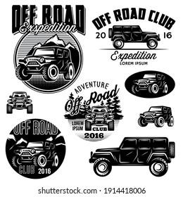 Set of monochrome templates for SUVs off-road sport club logos