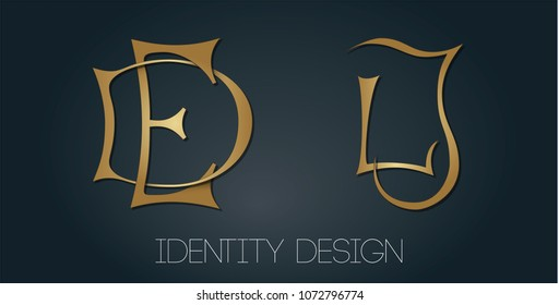 Set of monograms with golden letters DE and LJ for logotype design and branding