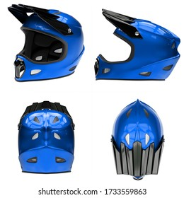 Set of Motor Sport FullFace Helmet Isolated. All side view. Extreme Sport equipment. Blue color. 3D render Illustration Isolated on white background.