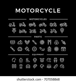 Set of motorcycle related line icons isolated on black