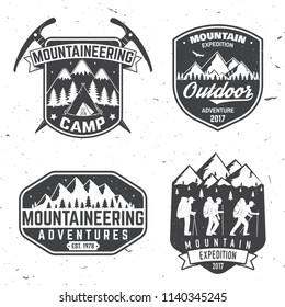 Set of mountain expedition badges.  Concept for alpine club shirt or logo, print, stamp or tee. Vintage typography design with mountaineers and mountain silhouette. Outdoors adventure emblems.