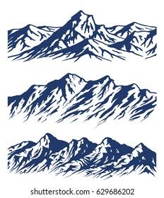Set of Mountain range silhouettes isolated on white background. Raster illustration