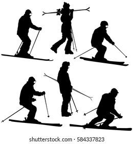 Set mountain skier speeding down slope. sport silhouette