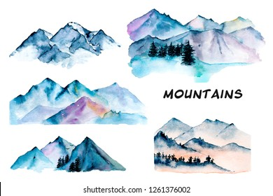 Set with mountains, nature landscapes. Watercolor hand painting sketch scenery. Illustrations isolated on white background. Perfectly for tourism and outdoor design.