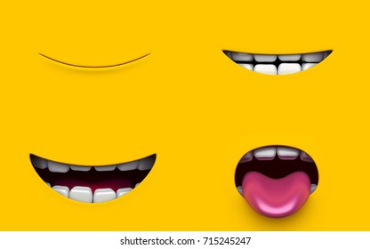 Set Mouth of character on a yellow background. Mimicry face of a cartoon minions little man. 3d render.