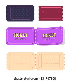Set of movie cinema tickets admit one raster illustration set isolated on white background. Coupon on pass admission or permission, collection of papers