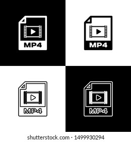 Set MP4 file document icon. Download mp4 button icons isolated on black and white background. MP4 file symbol