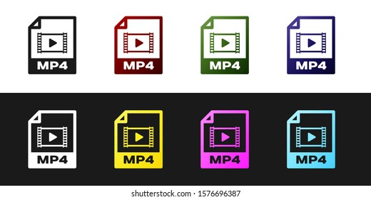 Set MP4 file document icon. Download mp4 button icon isolated on black and white background. MP4 file symbol.