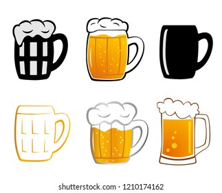 Set mugs of beer. Mug of beer with foam on white background. Lager beer icon.   illustration Mugs for beer in flat style.