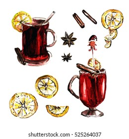Set of mulled wine cups. Lemon, cinnamon and vanilla elements
